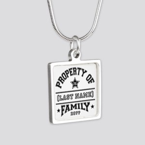 Family Property Silver Square Necklace