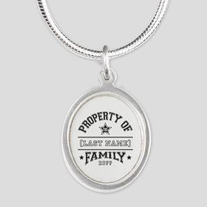 Family Property Silver Oval Necklace