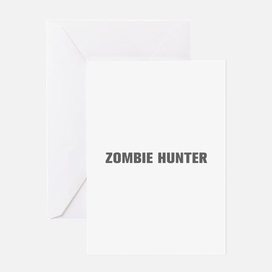 Zombie Hunter-Akz gray Greeting Cards