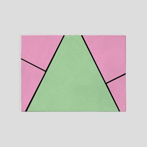 Pink Green Monogram 5'x7'Area Rug