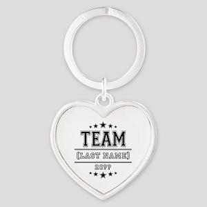 Team Family Heart Keychain