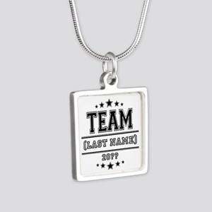 Team Family Silver Square Necklace