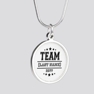 Team Family Silver Round Necklace