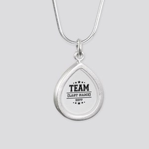 Team Family Silver Teardrop Necklace