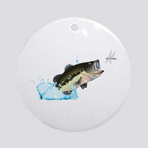 BASS AFTER DRAGONFLY Ornament (Round)