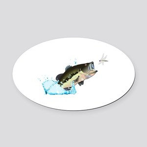 BASS AFTER DRAGONFLY Oval Car Magnet