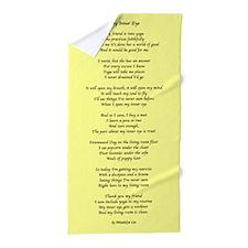 Yoga Poem Yellow Beach Towel