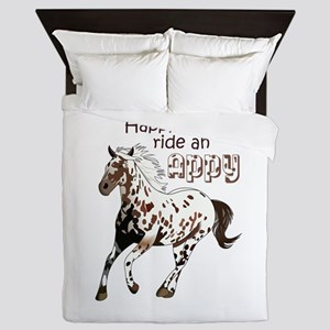 HAPPY TO RIDE AN APPY Queen Duvet