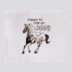 HAPPY TO RIDE AN APPY Throw Blanket