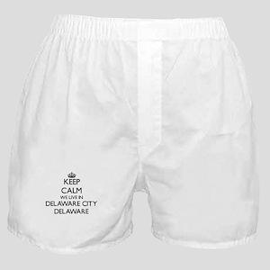 Keep calm we live in Delaware City De Boxer Shorts
