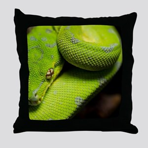 Galaxy, The Green Tree Python Throw Pillow