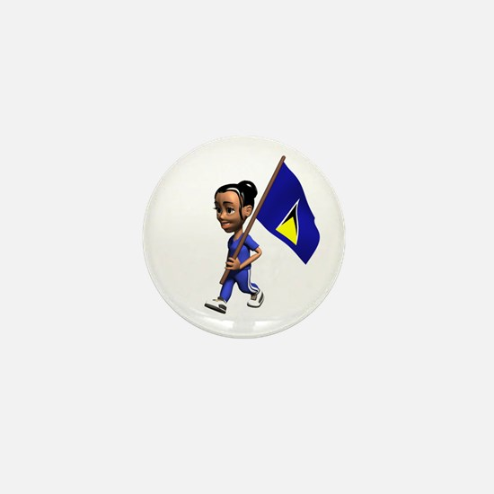 Saint Lucia Girl Mini Button