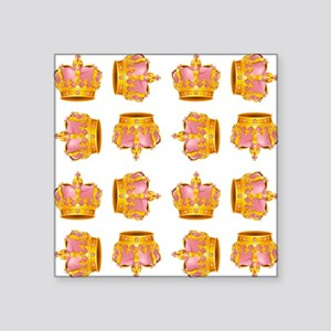 """PINK & GOLD CROWNS Square Sticker 3"""" x 3"""""""
