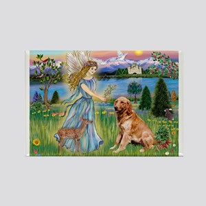 Garden Angel / Golden Sticker Rectangle Magnet