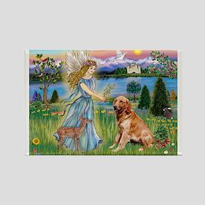 Garden Angel / Golden Sticker Rectangle Magnet