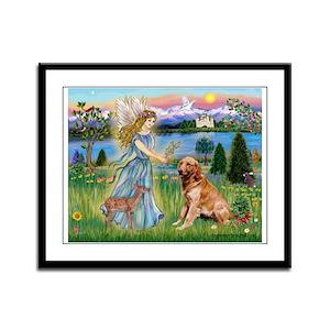Garden Angel / Golden Sticker Framed Panel Print