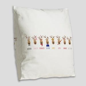 Santas Reindeer Burlap Throw Pillow