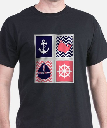 NAUTICAL IMAGES ON NAVY AND CORAL CHEVRON T-Shirt