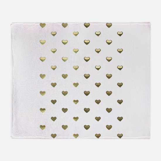 Gold Hearts Throw Blanket