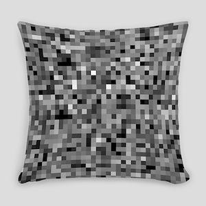 Black Pixel Mosaic Everyday Pillow