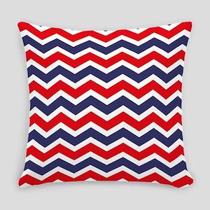 Nautical Chevron Red Everyday Pillow