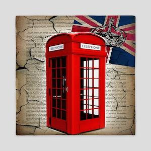 union jack telephone booth Queen Duvet