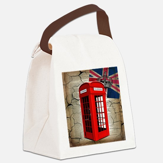 union jack telephone booth Canvas Lunch Bag