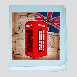 union jack telephone booth baby blanket