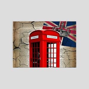 union jack telephone booth 5'x7'Area Rug