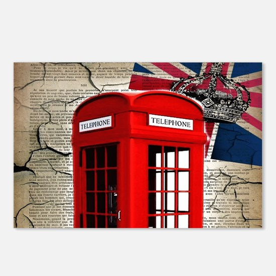union jack telephone boot Postcards (Package of 8)