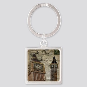 vintage london big ben Square Keychain