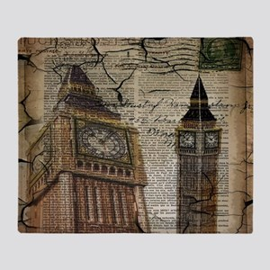 vintage london big ben Throw Blanket