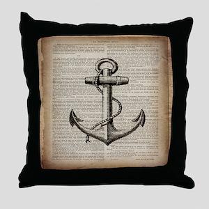 nautical vintage anchor Throw Pillow