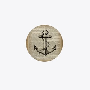 nautical vintage anchor Mini Button