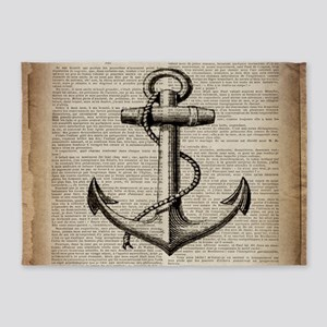 nautical vintage anchor 5'x7'Area Rug