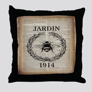 vintage french bee Throw Pillow
