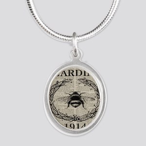 vintage french bee Silver Oval Necklace