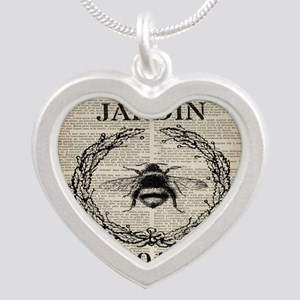 vintage french bee Silver Heart Necklace