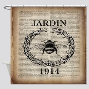 vintage french bee Shower Curtain