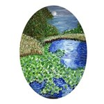 Pearl River Water Lillies Oval Ornament