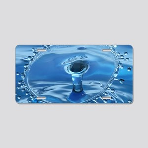 Blue Water Splash Aluminum License Plate