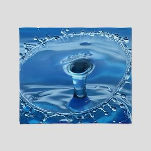 Blue Water Splash Throw Blanket