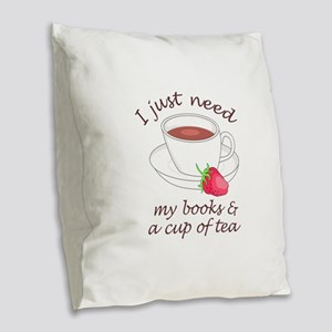 BOOKS AND TEA Burlap Throw Pillow