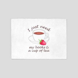 BOOKS AND TEA 5'x7'Area Rug