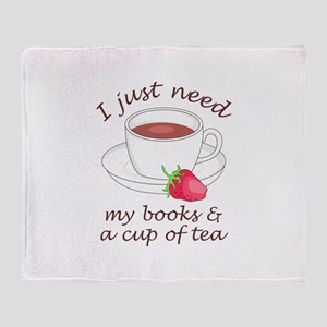 BOOKS AND TEA Throw Blanket