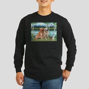 Birches / Golden Long Sleeve Dark T-Shirt