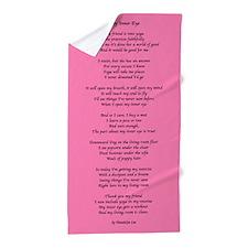 Yoga Poem Pink Beach Towel