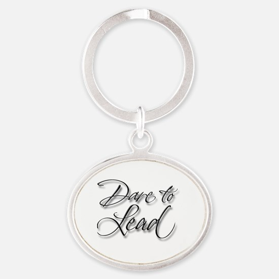 Dare to Lead Oval Keychain