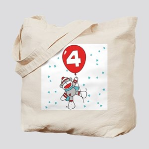 Sock Monkey 4th Birthday Tote Bag