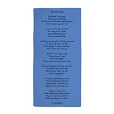 Yoga Poem Blue Beach Towel